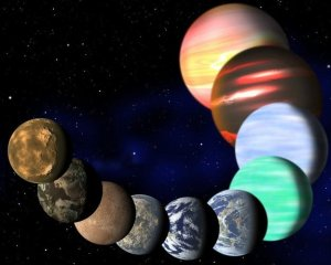 This artist's rendering shows the different types of planets in the Milky Way detected by Nasa's Kepler spacecraft